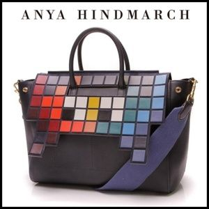🕹 Anya Hindmarch Space Invaders Navy Leather Tote